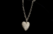 long stone love heart chain